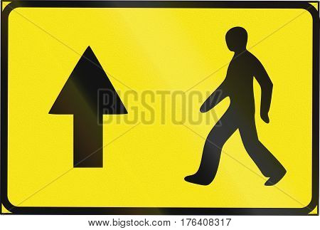 Estonian Temporary Informatory Road Sign - Direction For Pedestrians