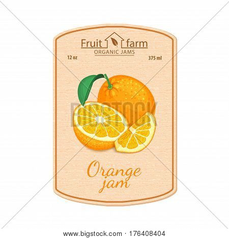 Vector orange jam lable. Composition of tropical orange fruits. Design of a sticker for a jar with orange jam, fruit marmalade, juice, smoothies. Sticker in a retro style with texture for your design