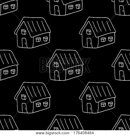 Sweet house pattern with hand drawn houses. Cute vector black and white house pattern. Seamless monochrome house pattern for fabric, wallpapers, wrapping paper, cards and web backgrounds.
