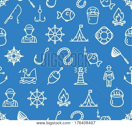 Fishing Sport and Leisure Pattern Background on Blue Outdoor Recreation. Vector illustration
