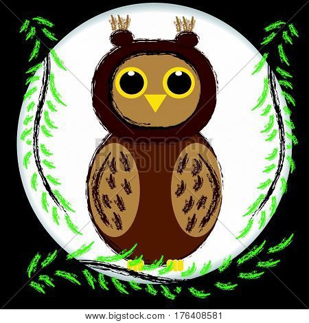 Brown owl sitting on branch in night. Vector illustration.