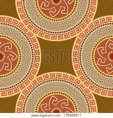 Traditional seamless vintage circle shaped ornate elements with Greek ornament Meander in orange colors. Can be used for wrapping paper, fabric, ceramic. Vector illustration
