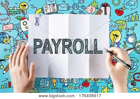 Payroll Text With Hands