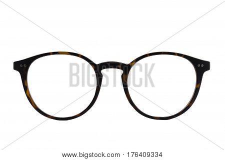 Isolated tortoiseshell retro round eyeglasses frame on white background