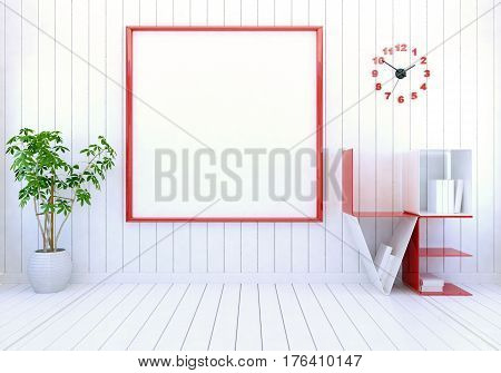 White modern room interior with empty photo frame on wall and word Love book shelf for Valentine's day, 3D rendering