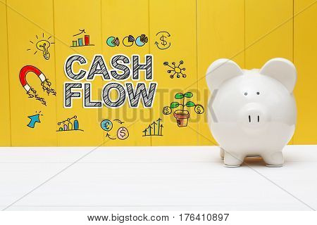 Cash Flow Text With Piggy Bank
