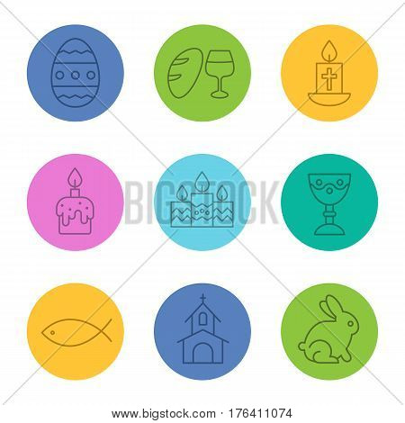 Easter linear icons set. Bread and wine, candles, fish, church, goblet, candles, Easter bunny and egg. Thin line contour symbols on color circles. Vector illustrations