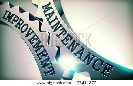 Maintenance Improvement on Mechanism of Metallic Gears. Business Concept in Technical Design. Message Maintenance Improvement on the Metal Gears - Interaction Concept. 3D Render.