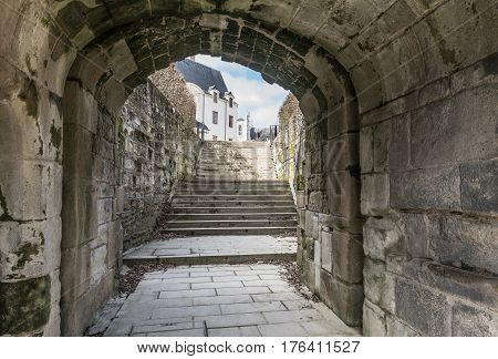 Castle of the Dukes of Brittany (Chateau des ducs de Bretagne) alternative entrance in Nantes, France