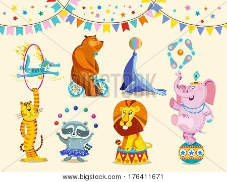 Circus animals decorative icons set. Funny circus elephant, tiger, cat, bear, raccoon, lion perform tricks. Vector Illustration