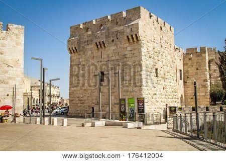 JERUSALEM, ISRAEL - OCTOBER 3: The Jerusalem Citadel and Jaffa Gate, entrance to the Old City of Jerusalem, Israel on October 3, 2016