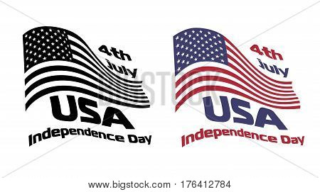 Waving USA national flag with 4th July USA independence Day sign vector