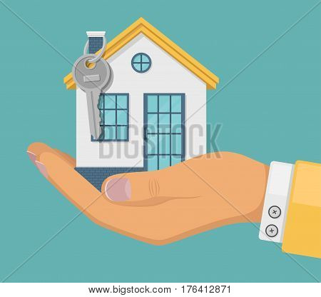 Hand agent with house in palm and key on tube. Offer of purchase house, rental of real estate. Offering, demonstration, handing house keys. Colorful vector flat illustration.