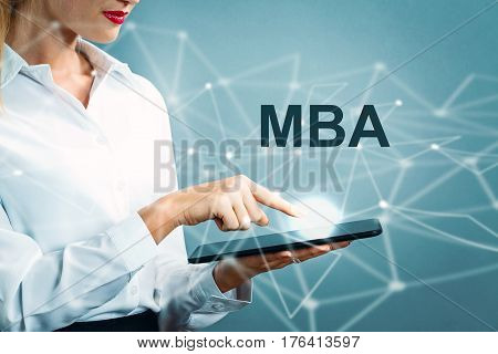 Mba Text With Business Woman
