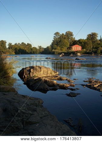 Willamette Pastoral - late afternoon peaceful river scene