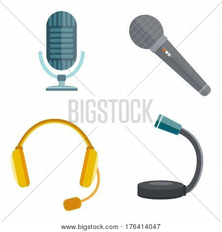 microphones types vector icons. Journalist microphone, interview music studio Web broadcasting, vocal, tv show isolated white background, pair of earphones, headphones set