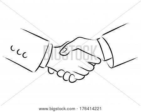 Simple line art of shaking hands, business deals