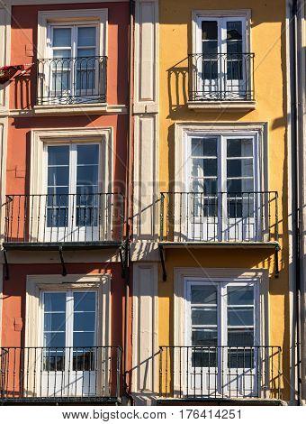 Burgos (Castilla y Leon Spain): facade of historic building with balconies