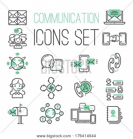 Media internet web black green computer network contact symbols and media business phone technology social communication icons vector illustration. Connection cloud finance message design.
