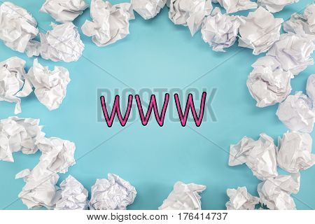 Www Text With Crumpled Paper Balls