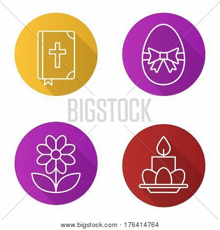 Easter flat linear long shadow icons set. Holy Bible, Easter egg with bow and ribbon, camomile, eggs and candle on plate. Vector line illustration