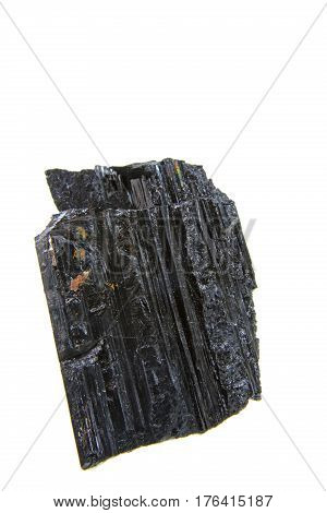 Crystals aggregate of tourmaline isolated against white background