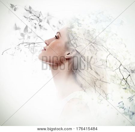 Double Exposure Of Young Woman And Dogwood Flowers