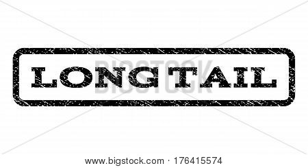 Long Tail watermark stamp. Text tag inside rounded rectangle with grunge design style. Rubber seal stamp with dust texture. Vector black ink imprint on a white background.