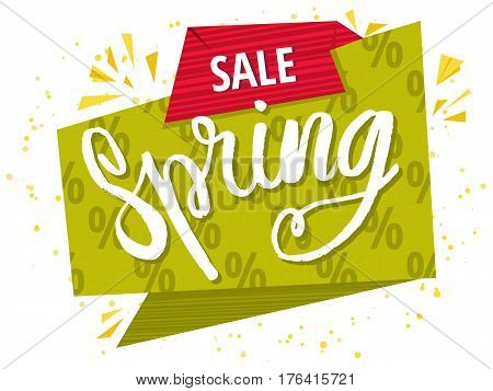 Spring sale green poster. Sale Spring Banner Isolated On White Background. Vector illustration