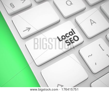 Local SEO - Local Search Engine Optimization Keypad on the Keyboard Keys. with Green Background. Local SEO - Local Search Engine Optimization Keypad on Laptop Keyboard. 3D.