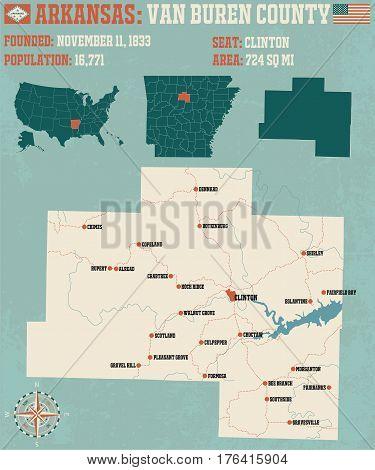 Large and detailed map of Van Buren County in Arkansas.