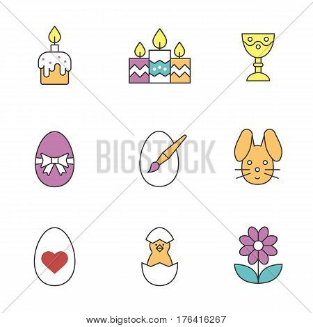 Easter color icons set. Candles, Easter bunny and eggs, camomile, goblet, newborn chicken. Isolated vector illustrations