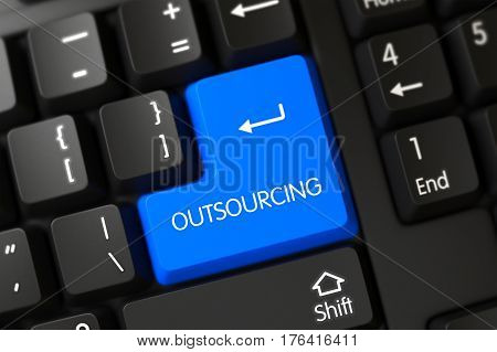 Modernized Keyboard with the words Outsourcing on Blue Keypad. 3D Render.