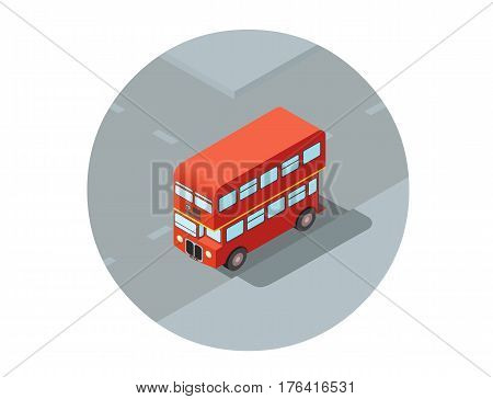Vector isometric illustration of red double-decker, city  public bus transport icon