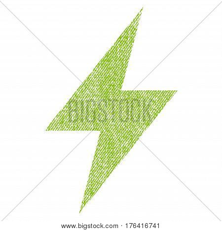 Electric Strike vector textured icon for overlay watermark stamps. Fabric light green vectorized texture. Symbol with scratched design. Rubber seal stamp with fiber textile structure.