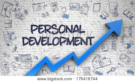 Personal Development Inscription on Modern Illustation. with Blue Arrow and Hand Drawn Icons Around. Personal Development - Modern Illustration with Doodle Design Elements.