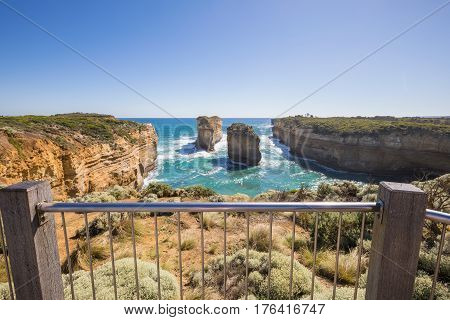 Loch Ard Gorge - Tom and Eva (formerly the Island Archway before its collapse) is part of Port Campbell National Park, Victoria, Australia, about three minutes' drive west of The Twelve Apostles.