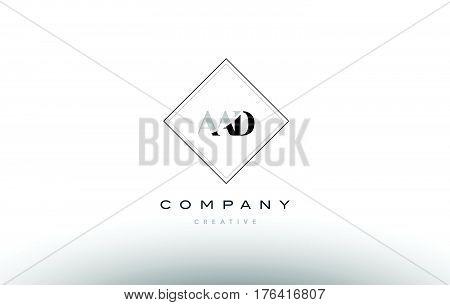 Aad A A D Retro Vintage Rhombus Simple Black White Alphabet Letter Logo