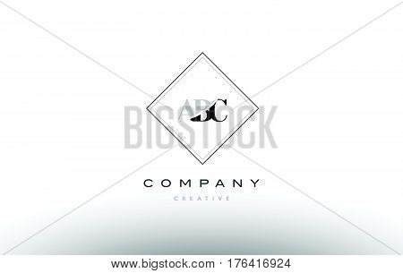 Abc A B C Retro Vintage Rhombus Simple Black White Alphabet Letter Logo