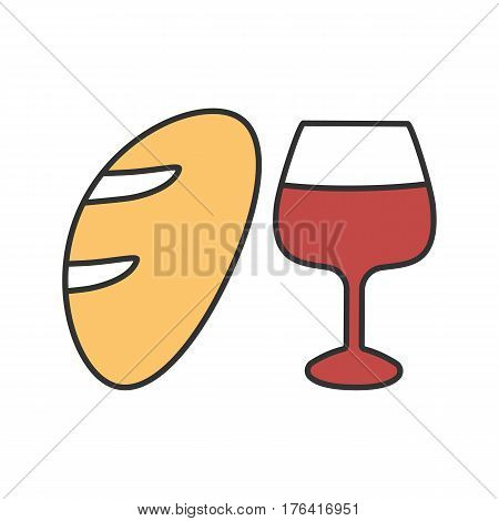 Wine and bread color icon. Jesus Christ flesh and blood. Isolated vector illustration