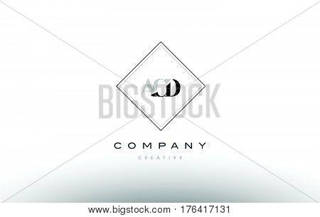 Acd A C D Retro Vintage Rhombus Simple Black White Alphabet Letter Logo