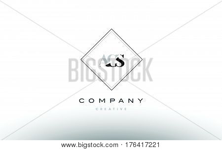 Acs A C S Retro Vintage Rhombus Simple Black White Alphabet Letter Logo