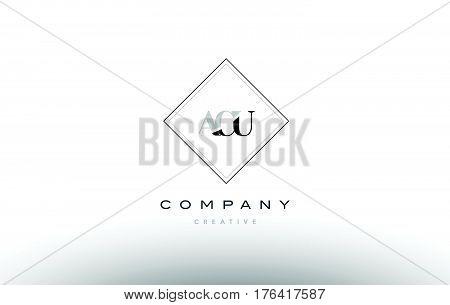 Acu A C U Retro Vintage Rhombus Simple Black White Alphabet Letter Logo