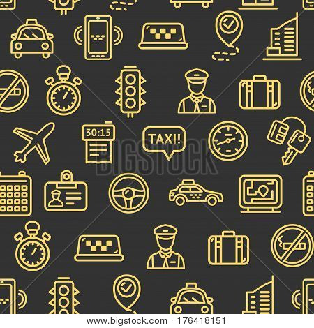 Taxi Services Pattern Background Yellow Icons on Dark Design for Web and App. Vector illustration