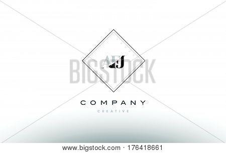 Afj A F J Retro Vintage Rhombus Simple Black White Alphabet Letter Logo