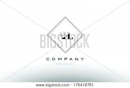Afl A F L Retro Vintage Rhombus Simple Black White Alphabet Letter Logo