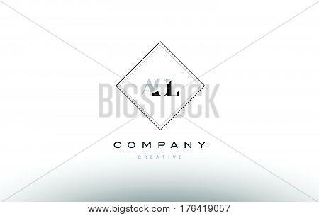 Acl A C L Retro Vintage Rhombus Simple Black White Alphabet Letter Logo