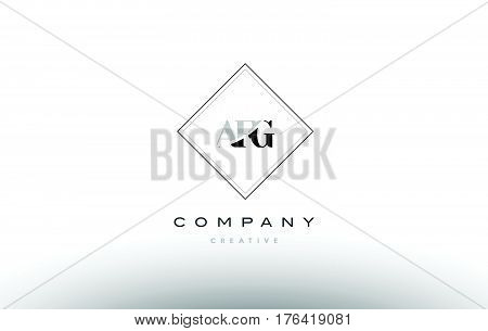 Afg A F G Retro Vintage Rhombus Simple Black White Alphabet Letter Logo
