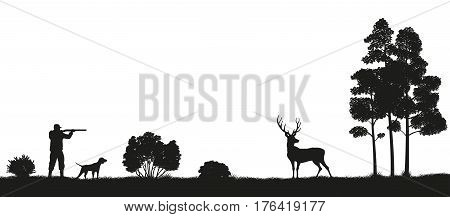 Black silhouette of a hunter and dog in the forest. Hunting for deer. Picture of wild nature. Vector illustration