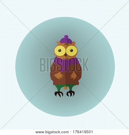 Owl Hipster in the Sweater and the Hat